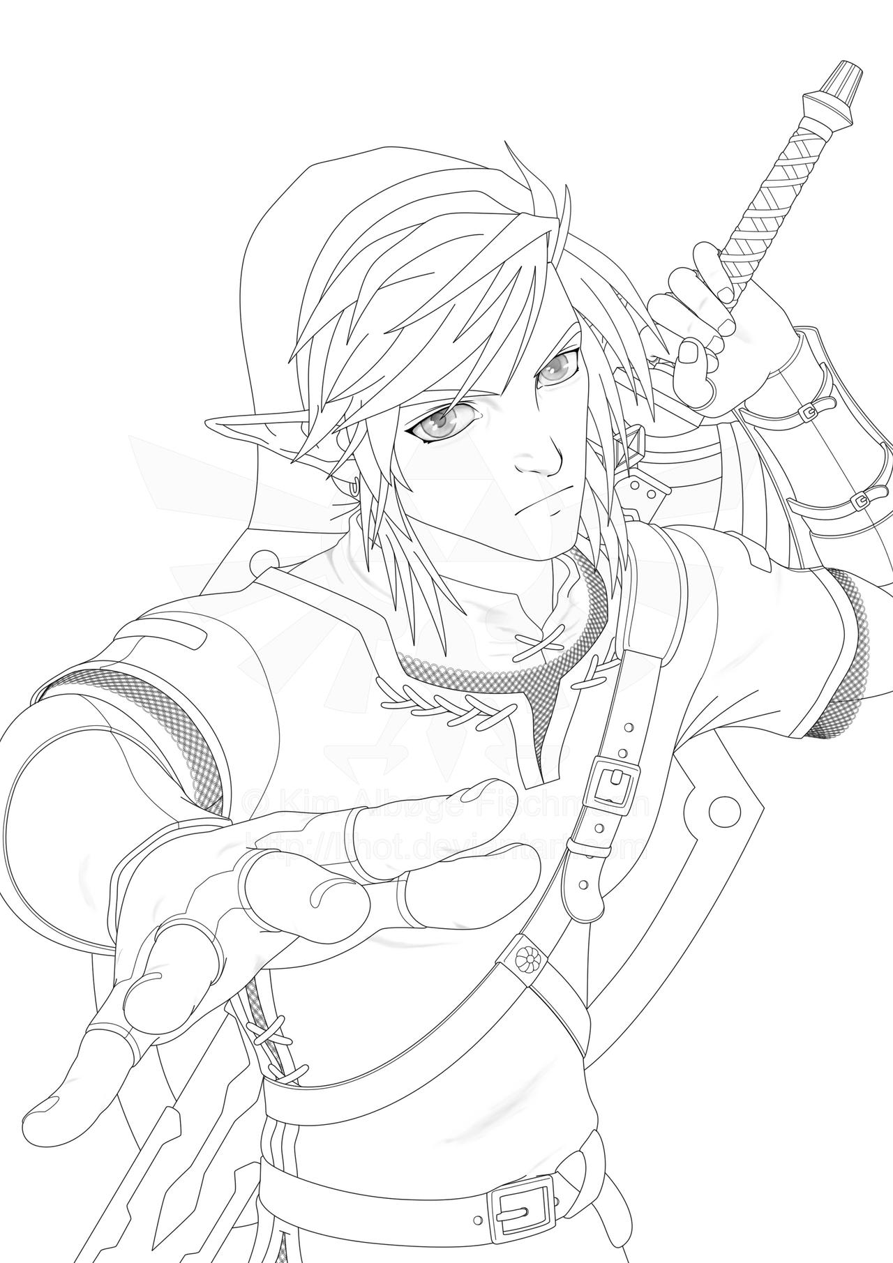 Line Art Zelda : Legend of zelda hero in action lines by lthot on