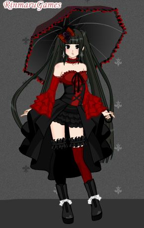 Anime little girl with black hair and red eyes