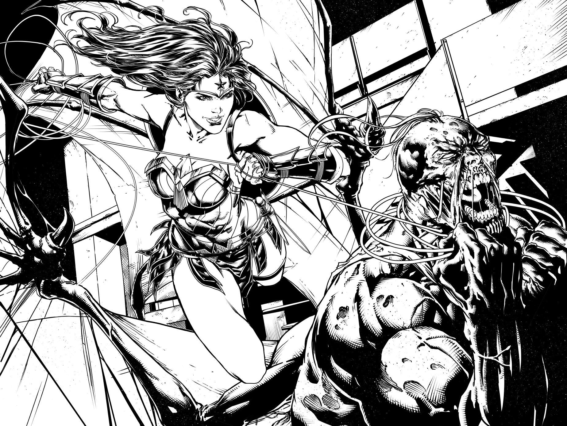 JusticeLeague37pg12-13 Wonder woman vs Patient Zer by jayfabs