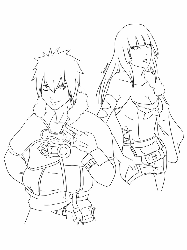 REQUEST- (LINEART) Hibiki +Kagura as Layle + Belle by Take-Kare