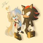 Shadow and Olivia in Japan school uniform.
