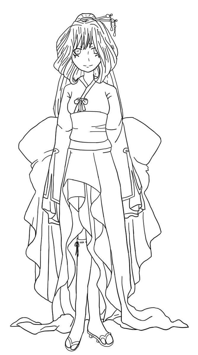 Lineart Kimono girl by Simtorta