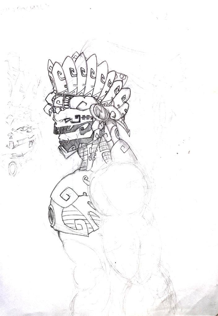 Huitzilopochtli sketch by LordCoatl
