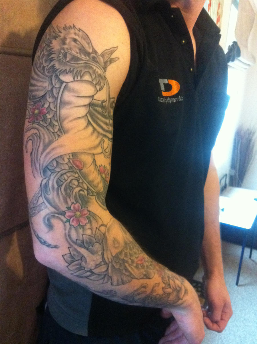 Koi dragon fish tattoo right arm sleeve by spinksy777 for Koi fish tattoo on arm