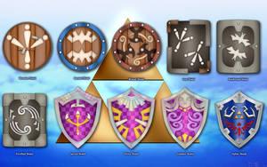 Shields of Skyward Sword Wallpaper by BLUEamnesiac