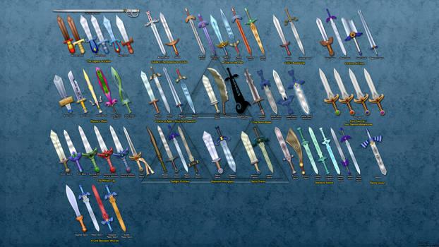 Evolution of Link's Sword Wallpaper by BLUEamnesiac