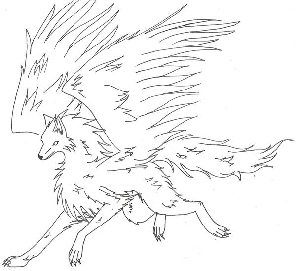 baby winged wolf coloring pages - photo#22