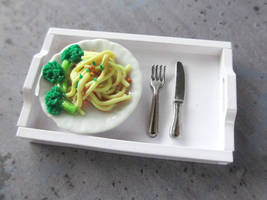 Pasta and Broccoli Dollhouse Miniature by Shiritsu