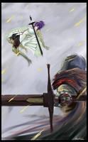 Commission: PSO2 vs. Dark Souls by trufflemunchies13