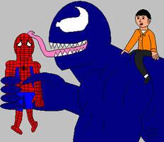 Venom licking Spider-Man