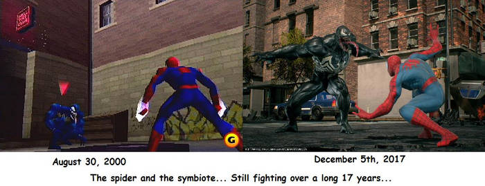 The Spider vs the Symbiote fighting over 17 years