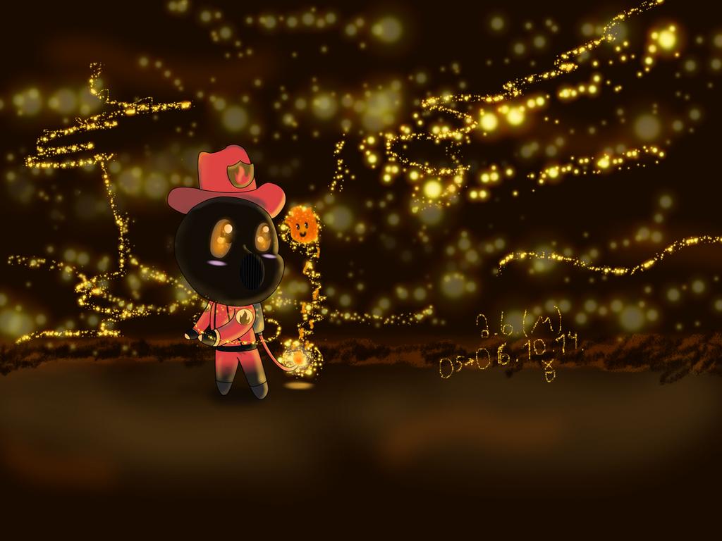 Chibi TF2 Pyro and a cute fireball by marikuna1998