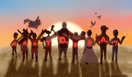 Team Fortress 2 - 10th anniversary by marikuna1998