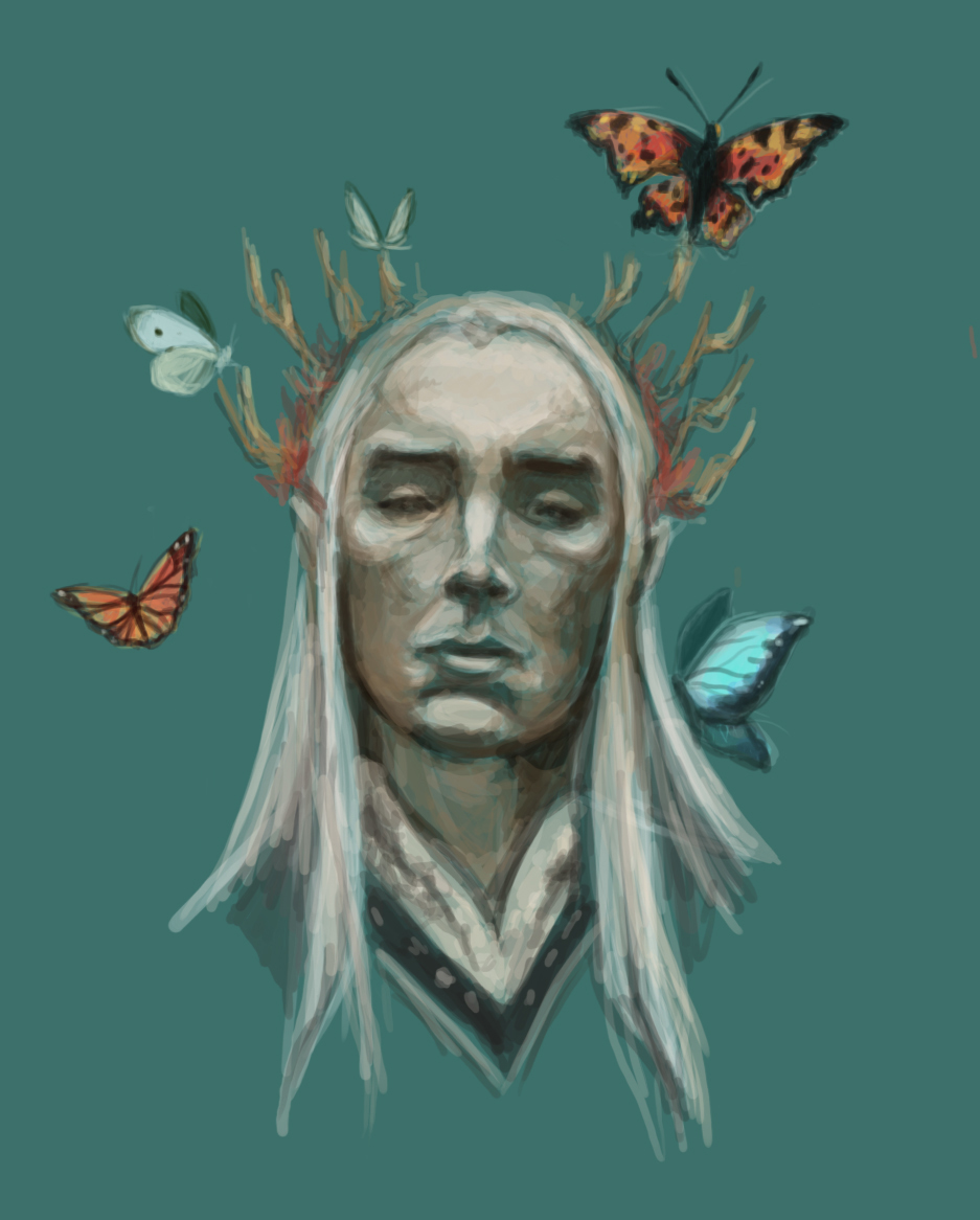 Thranduil with butterflies by InezvV
