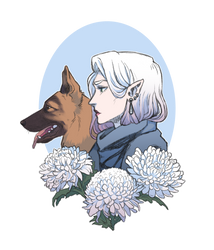 Dog, Demon, and Death flowers by itsadamnedeve