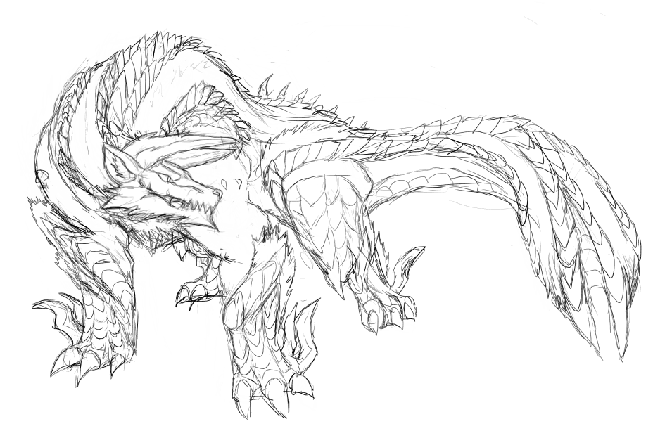 Monster Legends Coloring Pages Sketch Coloring Page: Monster Hunter Zinogre Drawing Sketch Coloring Page