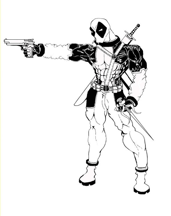 Deadpool deviantart black and white