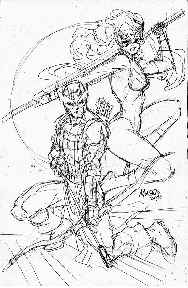 Hawkeye and Mockingbird WIP by gammaknight