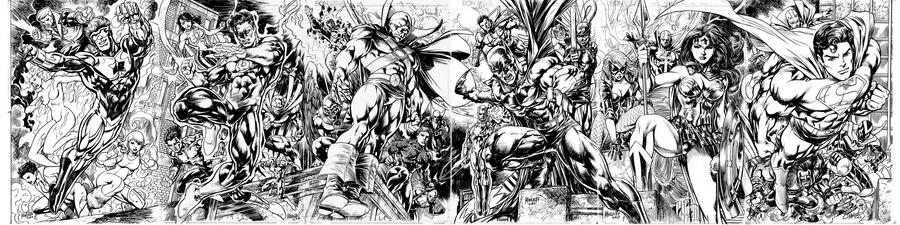 JLA 6 PART SPREAD COMPLETE by gammaknight