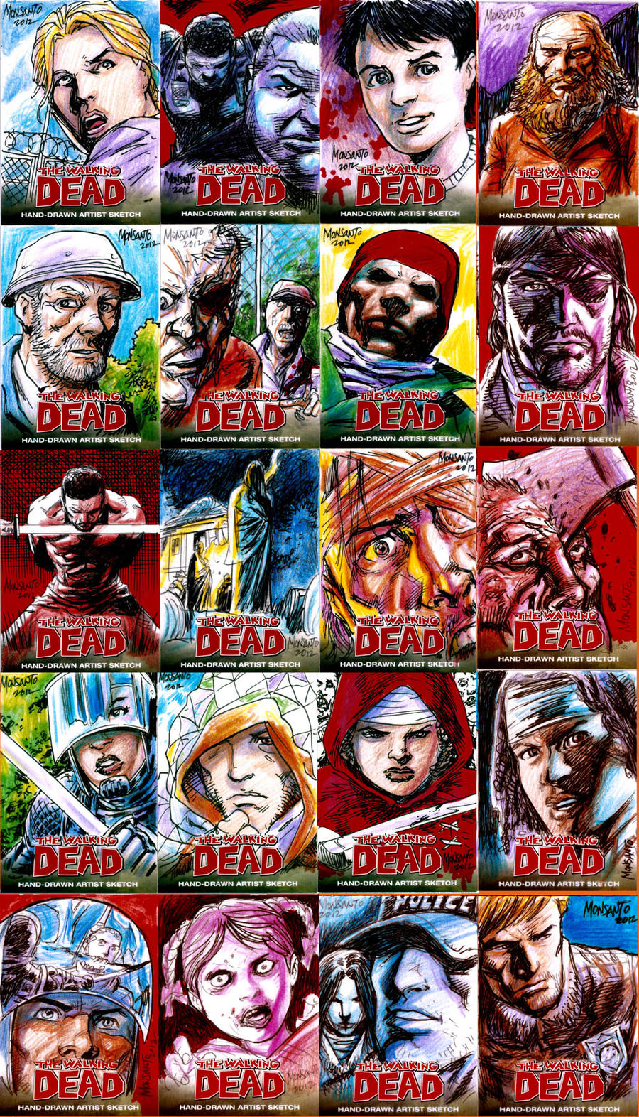 20 Walking Dead sketchcards by gammaknight
