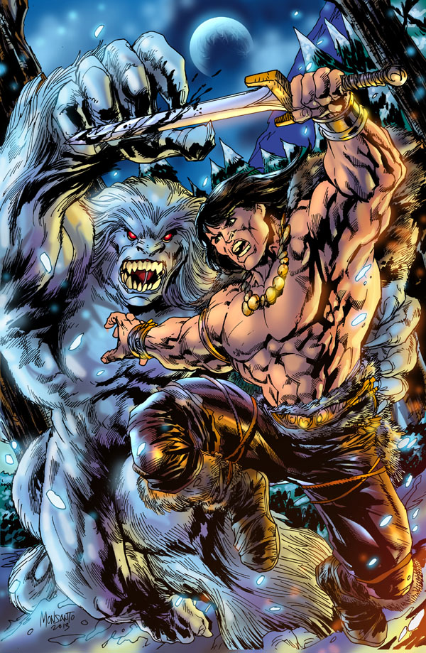 Conan against a Wendigo colored by gammaknight
