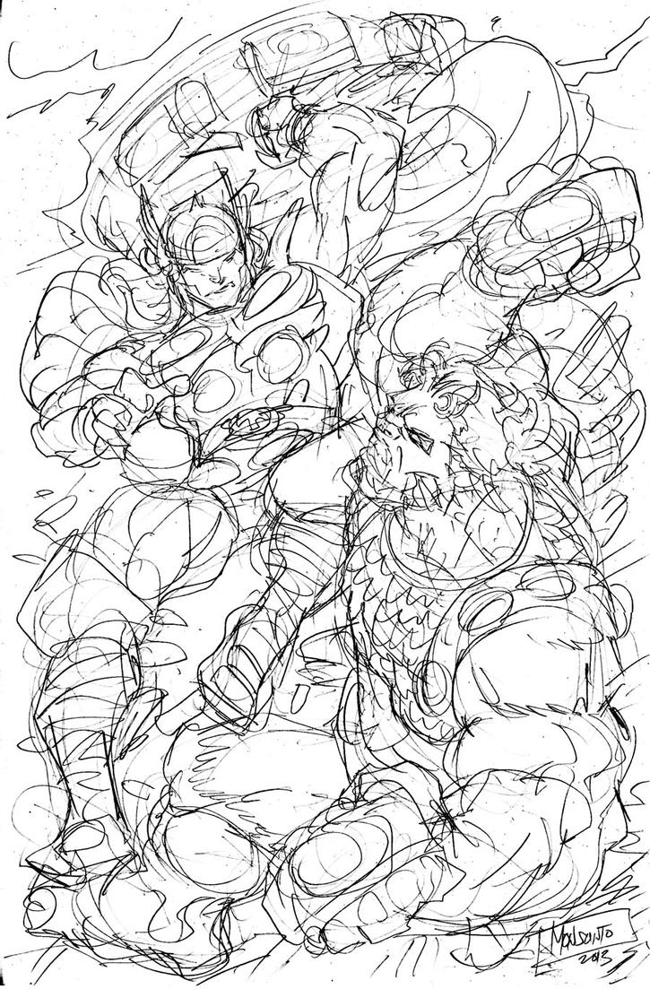 Thor vs Ulik rough pencils by gammaknight