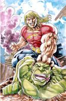 Doc Samson vs Hulk auction piece for Peter David by gammaknight