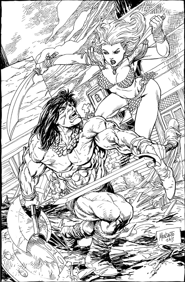 Conan vs Red Sonja by gammaknight