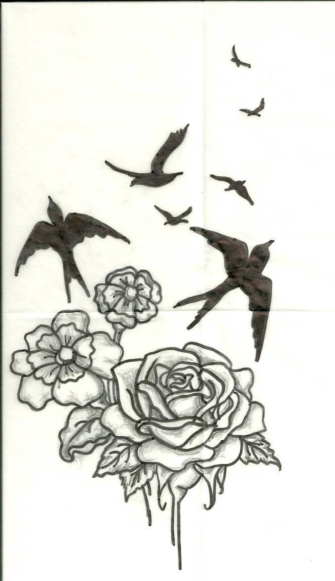 Flowers-Bird Tattoo Design by Artsy212 ...