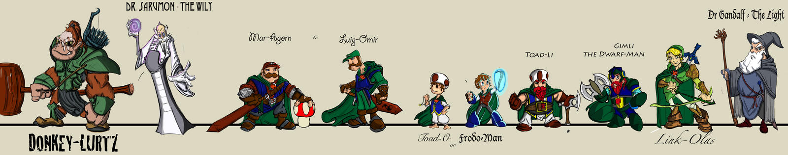 Super Mario Bros Lord of the Rings Mash-up Sketch by talonshoop