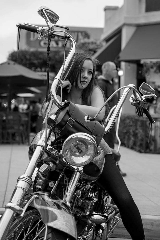 Biker Girl Black and White by momobearlovesyou