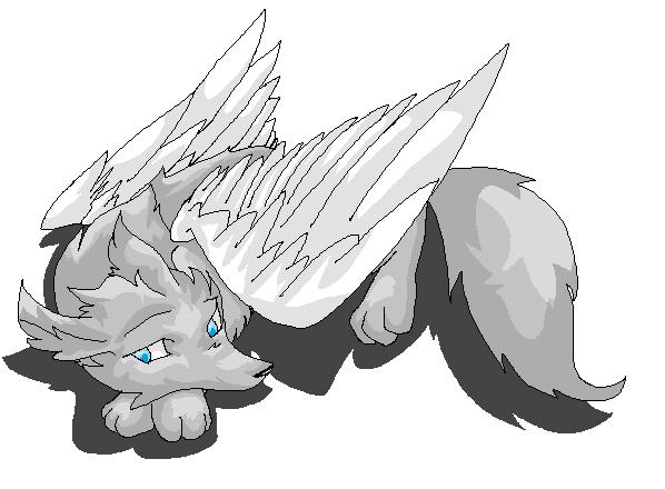 Winged Wolf Base Sad Cat Lineart