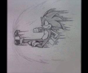 Sonic: Side-ways Kick (pencil drawing)