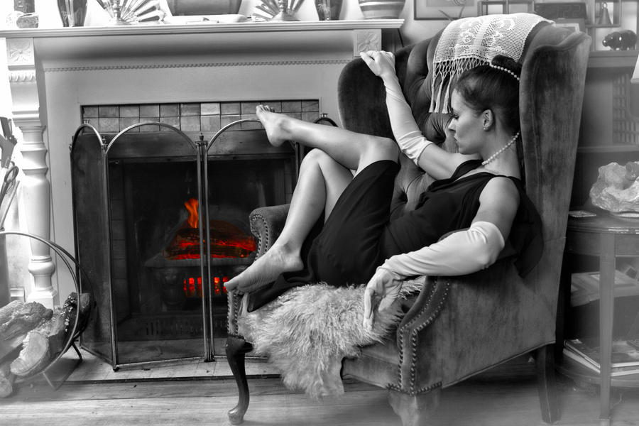 Barefoot Elegance at the Fireplace II B/W by Wuss-Lee