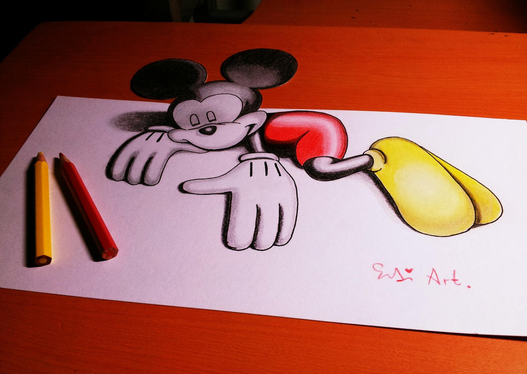 3D Drawing Mickey Mouse by Mickey Mouse Love Drawings