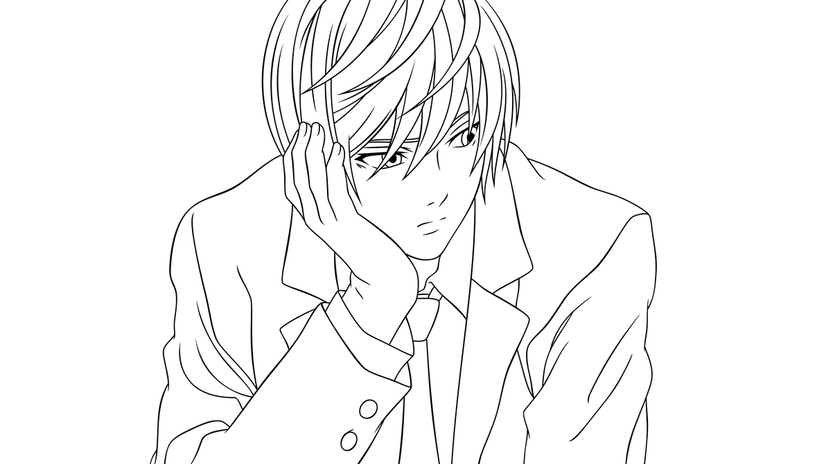 light yagami lineart by kryptonstudio on deviantart