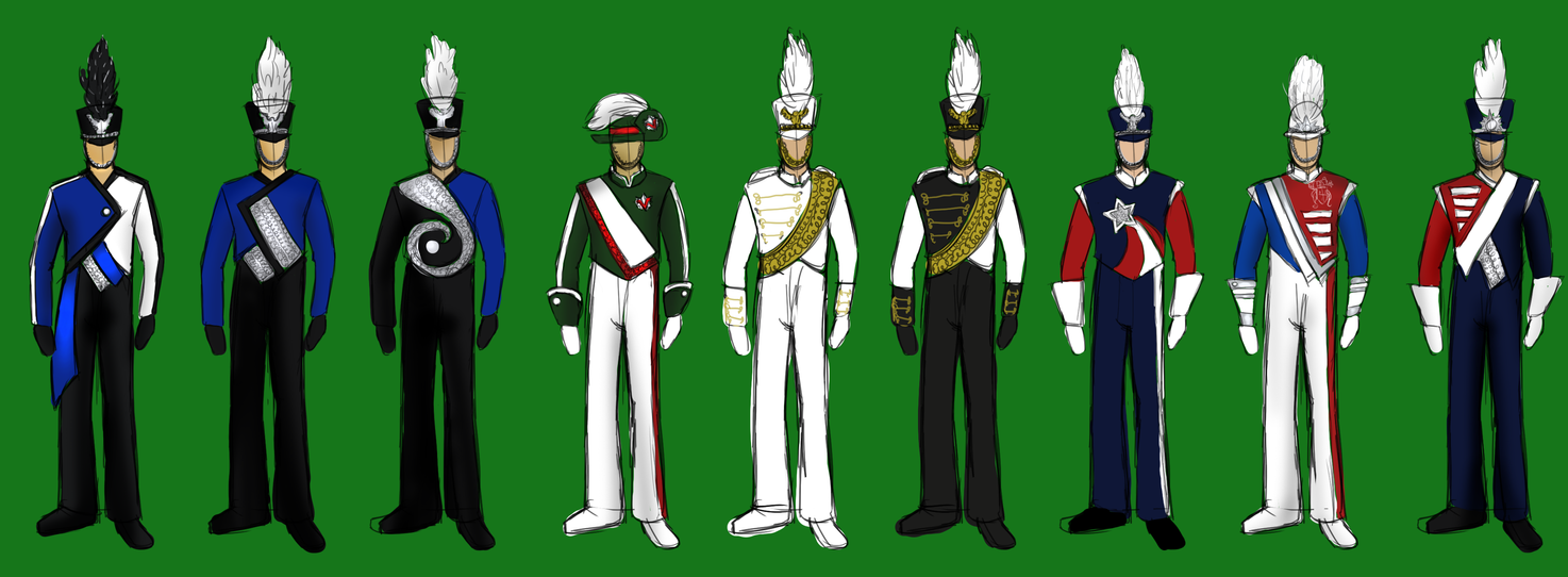 Some Marching Uniform Designs by ShutUpSprinkles
