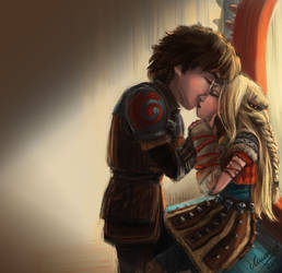 Hiccup and Astrid by Lily-121