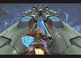 Link vs. Gundam by Blanco-Pantera