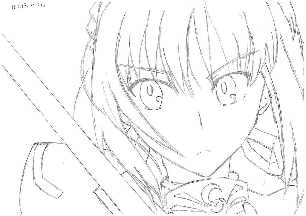 Q Line Art : Fate stay night coloring pages