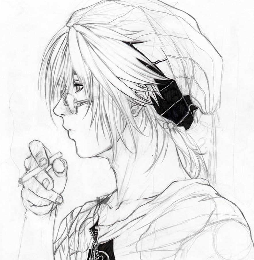 how to draw manga boy mid side view