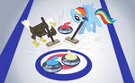 Rainbow Dash and Eagle playing Curling