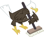Eagle with Curling Broom