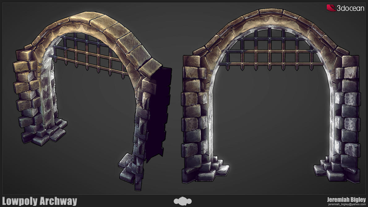 Modular dungeon lowpoly arch by jeremiahbigley on deviantart for Prefab interior arches