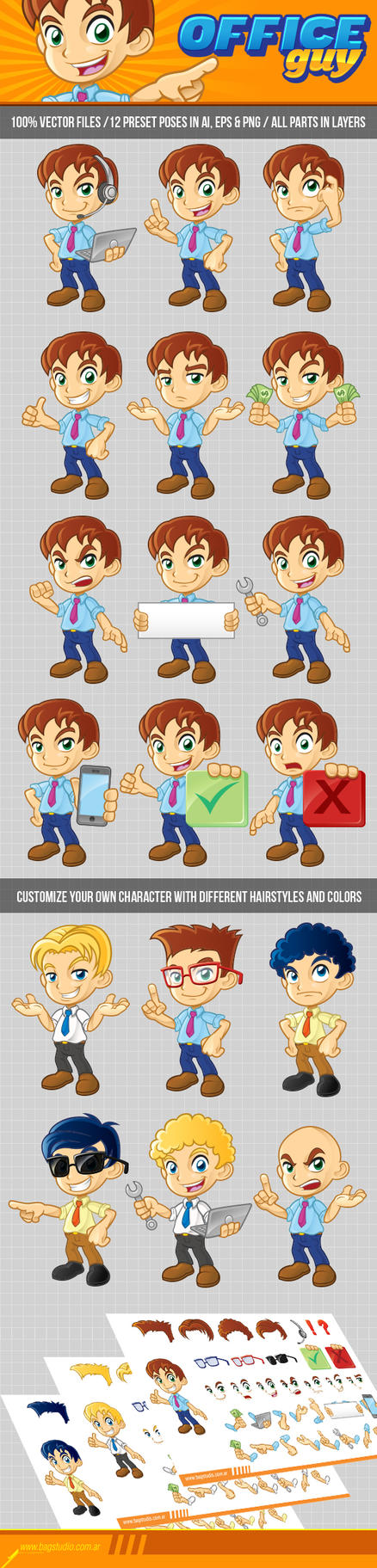 Office Guy Character Pack Preview by MrGabey