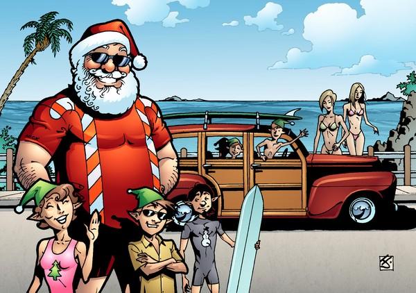 Surfin' Santa by artsavant