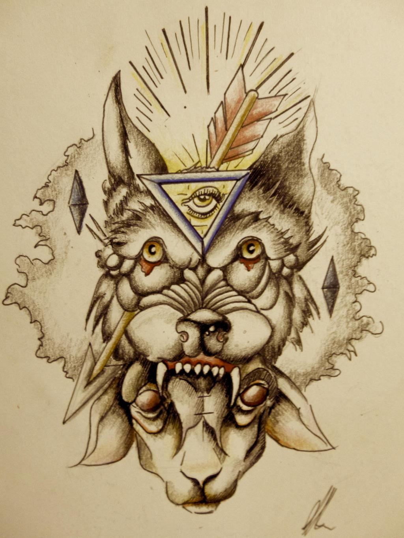old school wolf tattoo design by onichollsart on deviantart. Black Bedroom Furniture Sets. Home Design Ideas