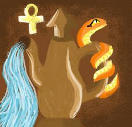 The Egyptian Goddess of purification (Kebechet) by MoonRises