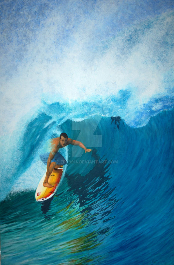 surfing painting on plywood by epx9914