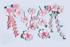 Spring Sakura. Kanzashi Set.